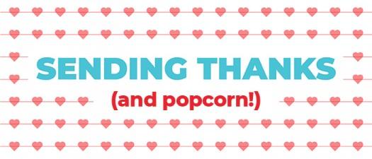 THANKS andpopcorn hearts sugarwishecard